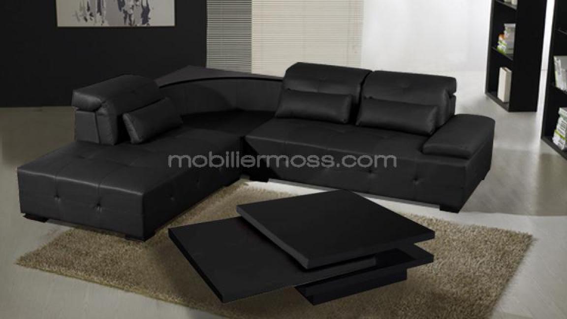 Photos canap d 39 angle cuir noir - Canape d angle en cuir noir ...
