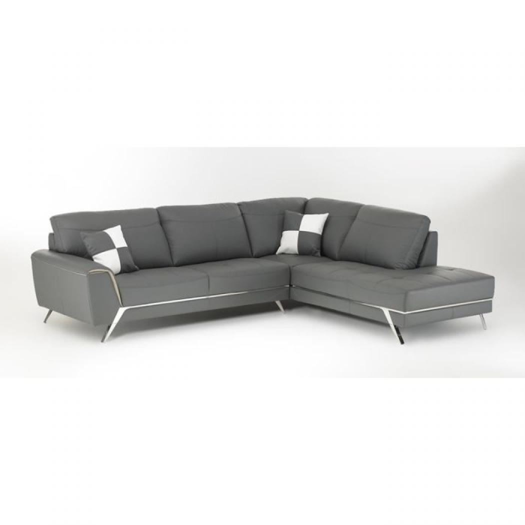 Canape d angle cuir gris canap d 39 angle 3 places croute for Canape winson conforama