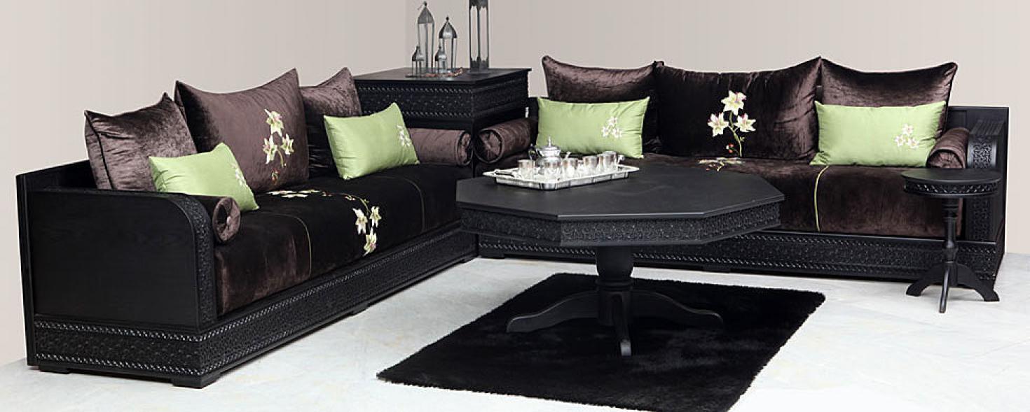 Photos canap marocain design cuir for Petit salon marocain moderne