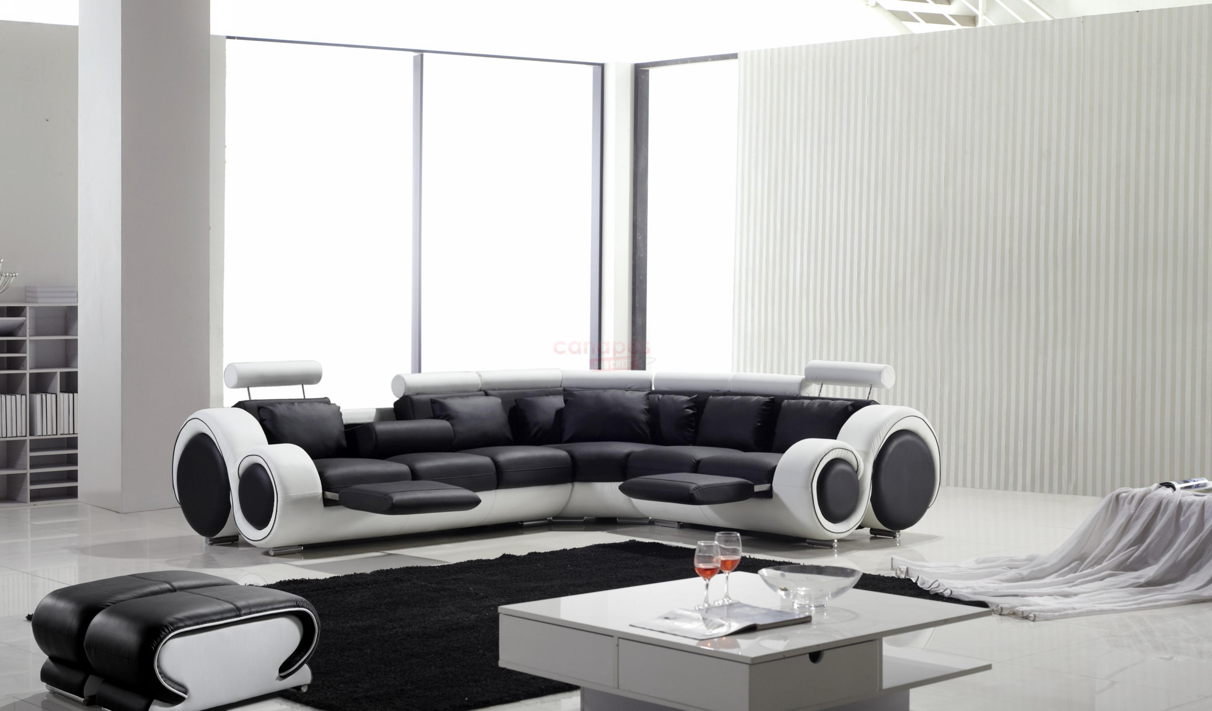 Photos canap d 39 angle design noir et blanc - Canaper noir et blanc ...