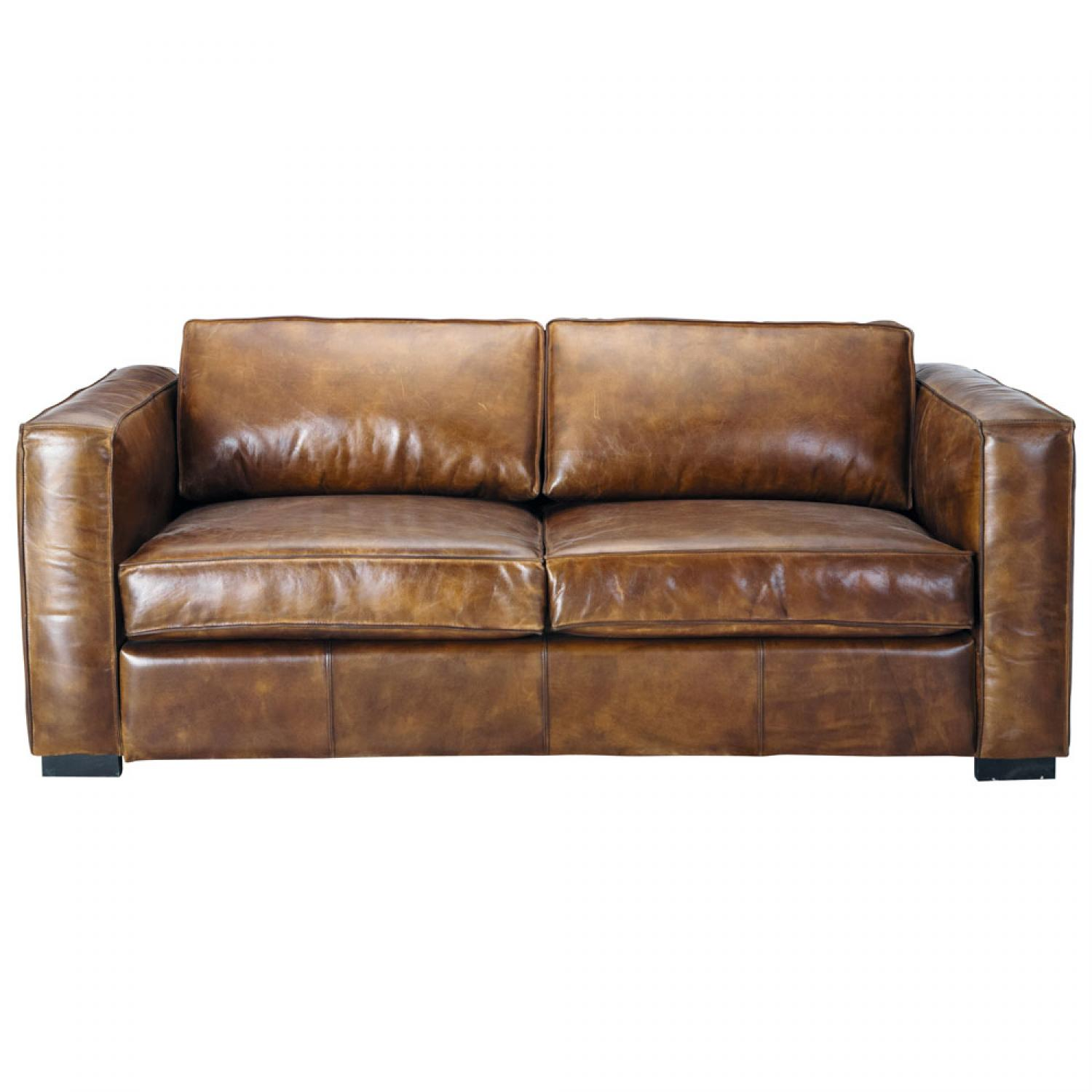 Photos canap convertible cuir vintage for Sofa maison du monde