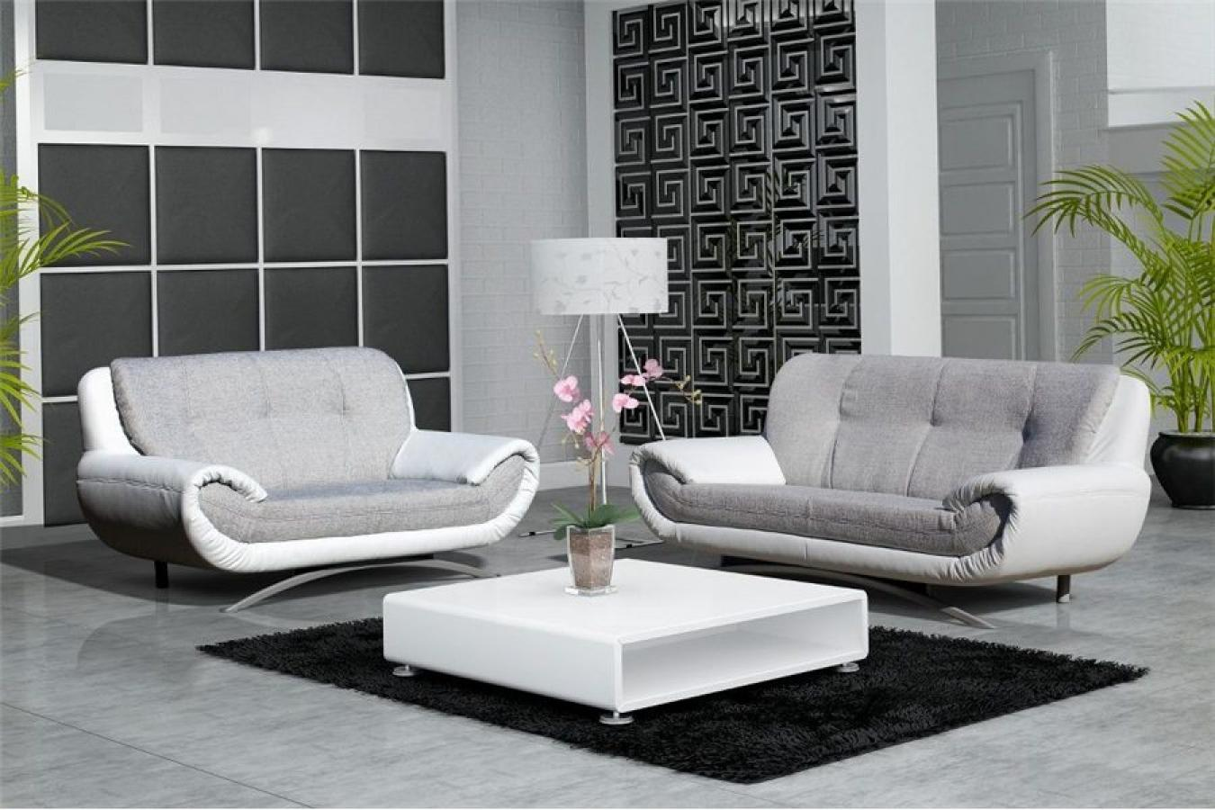 Photos canap design gris et blanc for Canape cuir blanc design