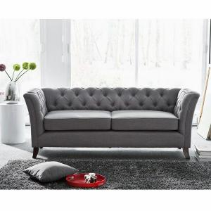 canapé chesterfield tissu gris