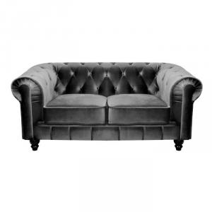 canapé chesterfield tissu gris 4