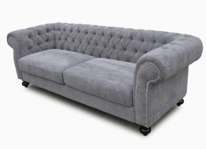 canapé chesterfield tissu gris 6