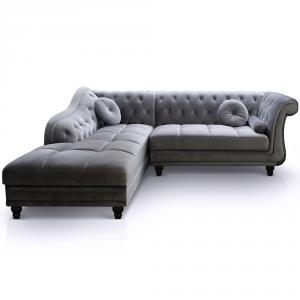 canapé chesterfield tissu gris 8