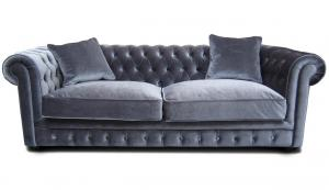 canapé chesterfield tissu gris 17
