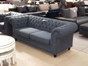 canapé chesterfield tissu gris 18