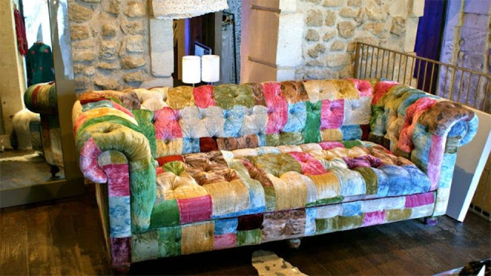 chesterfield sofa patchwork retro sofa kingsley 3 sitzer. Black Bedroom Furniture Sets. Home Design Ideas