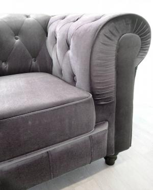 canapé chesterfield velours gris