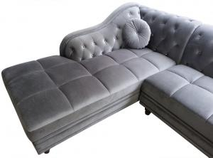 canapé chesterfield velours gris 3