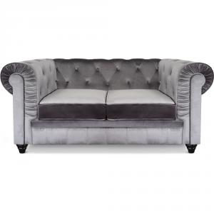 canapé chesterfield velours gris 6