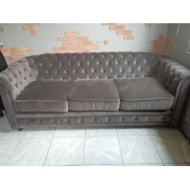 canapé chesterfield velours gris 8