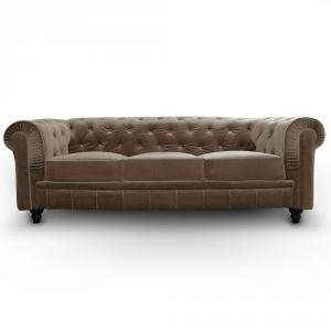 canapé chesterfield velours taupe