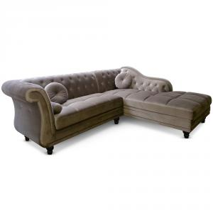 canapé chesterfield velours taupe 16