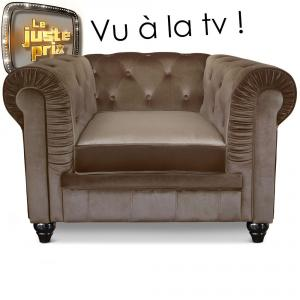 canapé chesterfield velours taupe 18