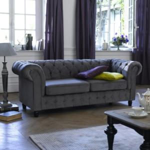 canapé chesterfield velours 3 places 3