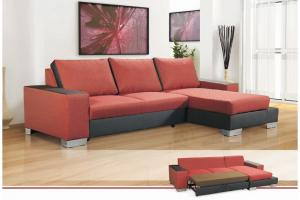 canapé d'angle convertible tissu rouge