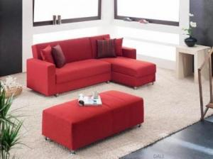 canapé d'angle convertible tissu rouge 7