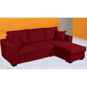 canapé d'angle convertible tissu rouge 15