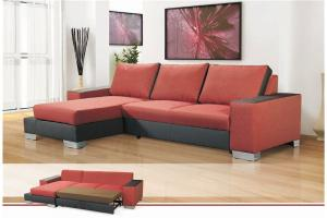 canapé d'angle convertible tissu rouge 16