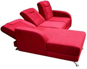 canapé d'angle convertible tissu rouge 18