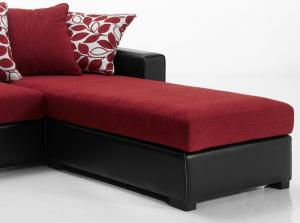 canapé d'angle convertible tissu rouge 19