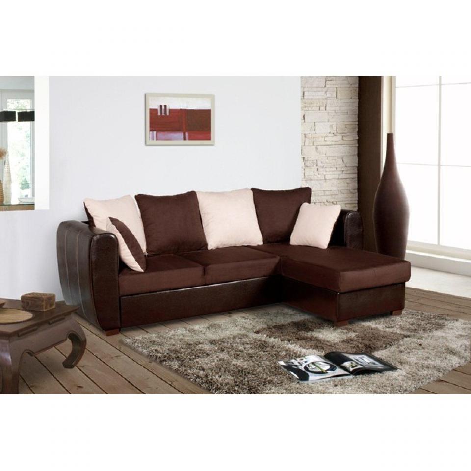 photos canap d 39 angle convertible tissu marron. Black Bedroom Furniture Sets. Home Design Ideas