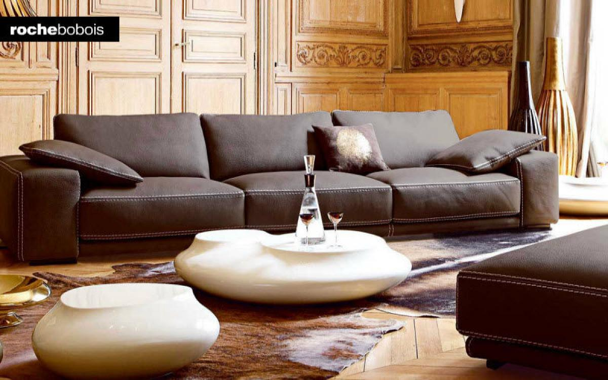 Photos canap modulable cuir contemporain roche bobois - Canape modulable cuir ...