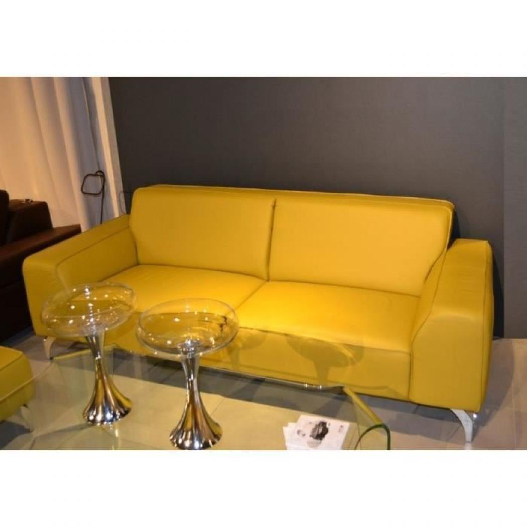 Photos canap 2 places cuir jaune for Canape 8 places cuir