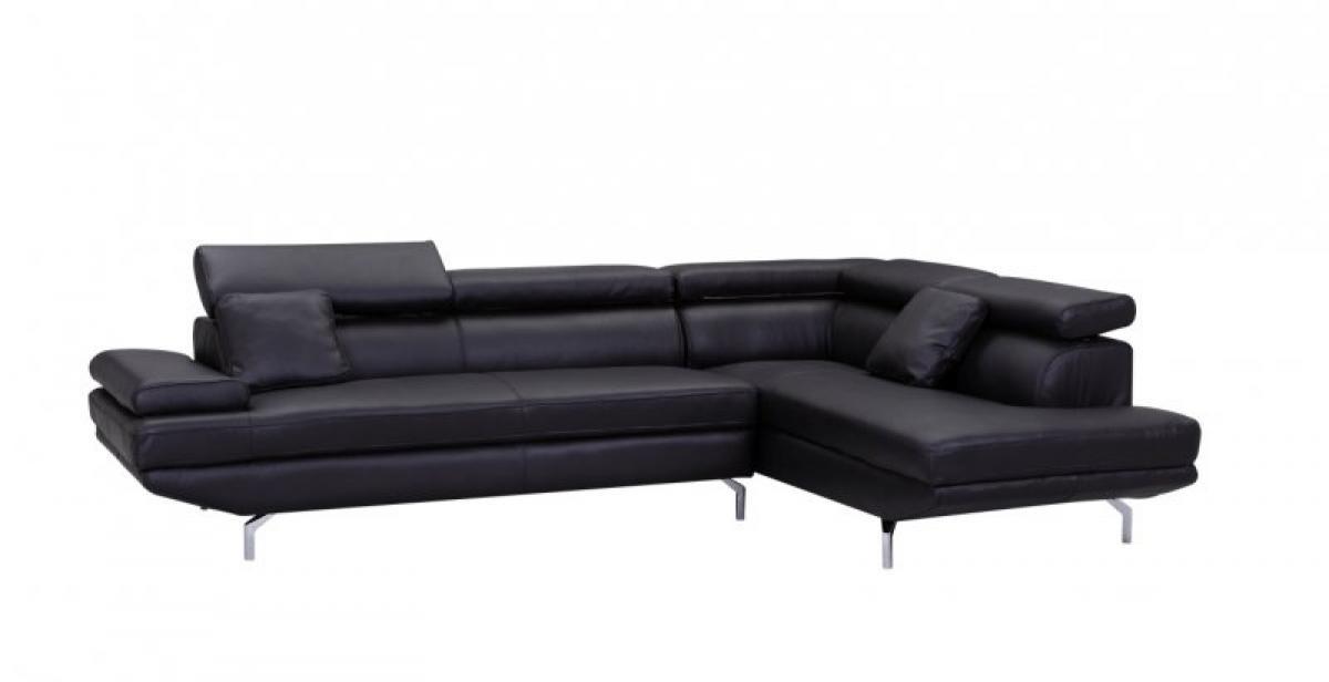 Photos canap d 39 angle cuir noir design - Canape angle cuir noir ...