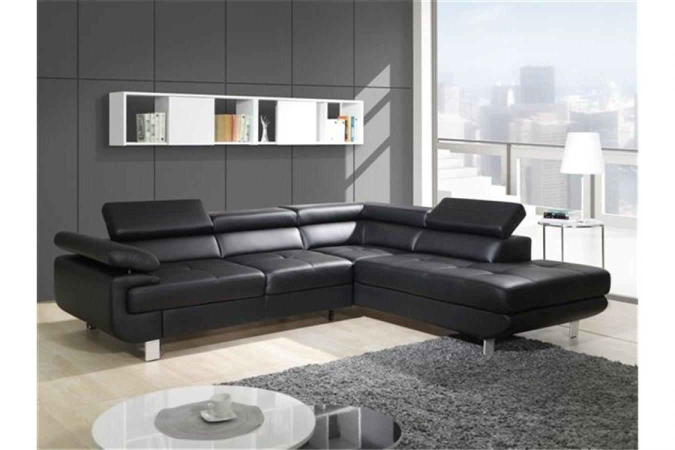 photos canap d 39 angle cuir noir but. Black Bedroom Furniture Sets. Home Design Ideas
