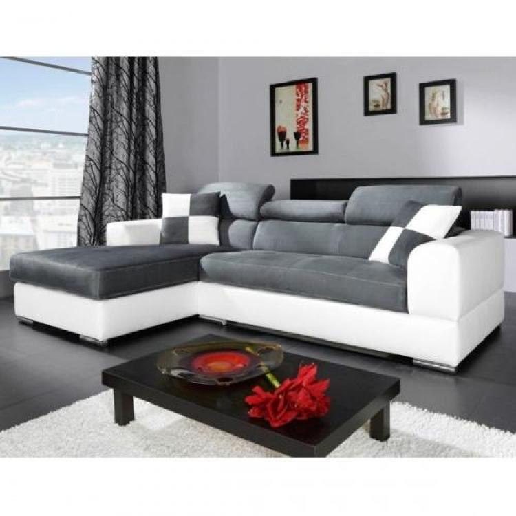 photos canap d 39 angle tissu gris et blanc. Black Bedroom Furniture Sets. Home Design Ideas
