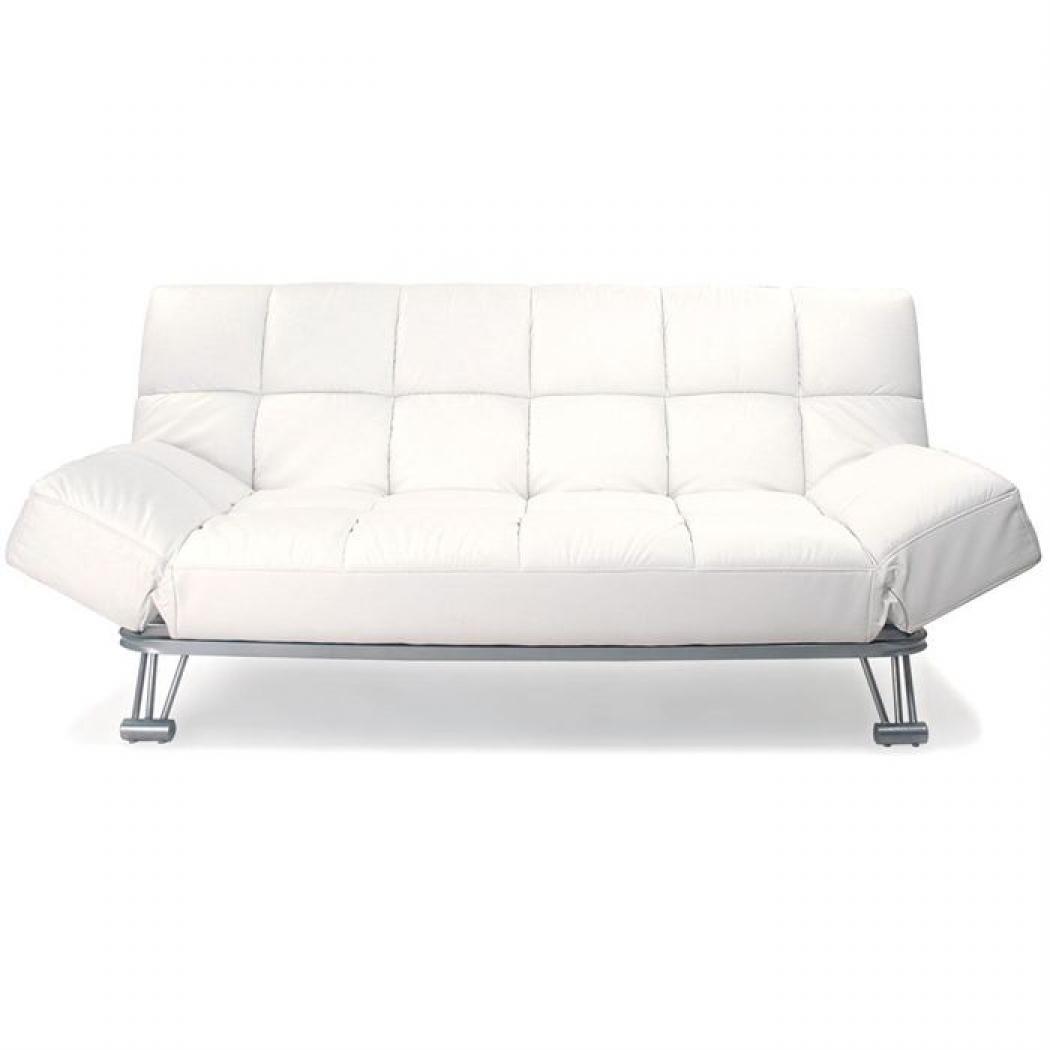 photos canap convertible cuir blanc 3 places manhattan. Black Bedroom Furniture Sets. Home Design Ideas