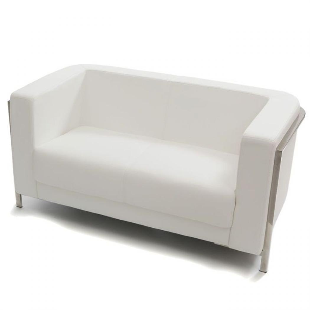 Photos canap convertible cuir blanc 3 places manhattan - Canape convertible cuir blanc ...