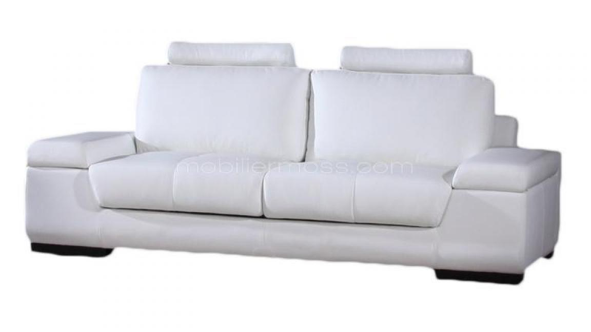 Photos canap convertible cuir blanc 3 places for Canape convertible cuir blanc