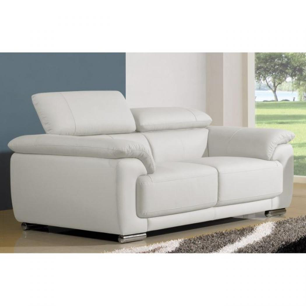 Cuir center canape 2 places blanc convertible aulnay sous bois design - Canape convertible cuir 2 places ...