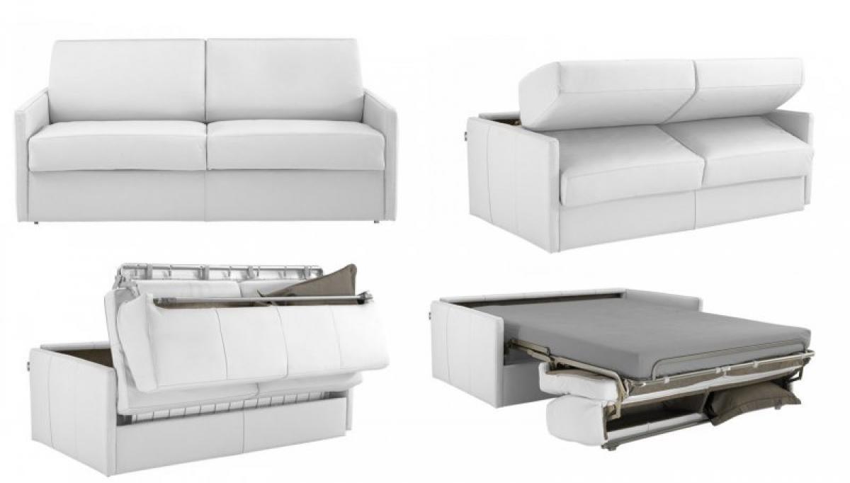Photos canap convertible cuir blanc 2 places for Petit divan lit