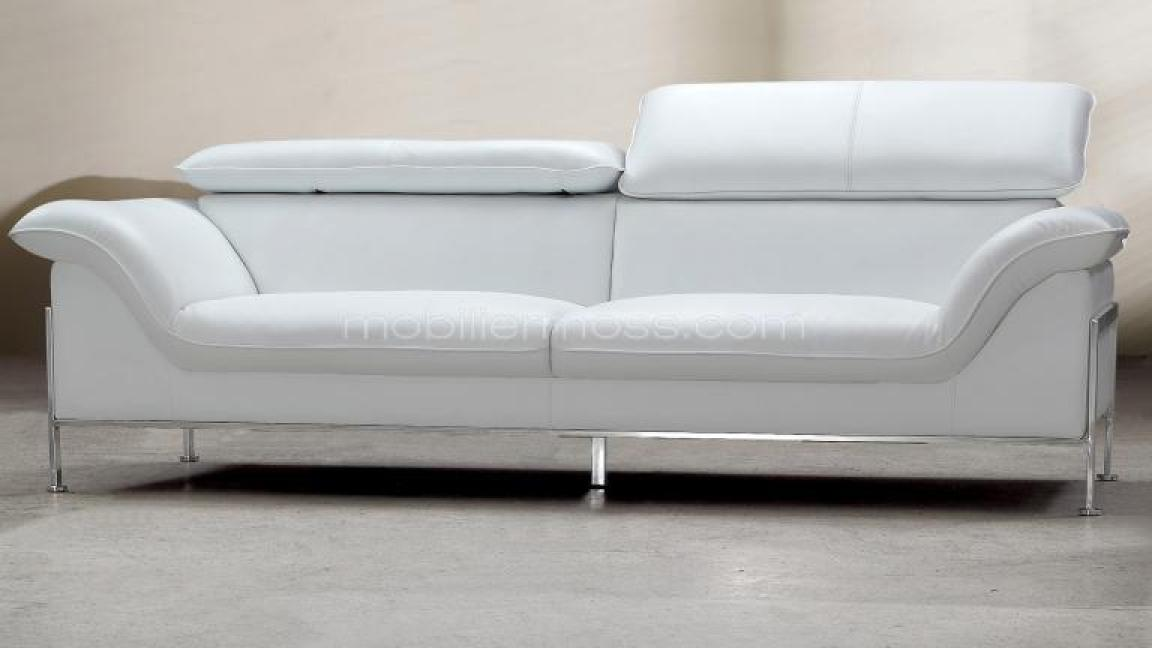 Photos canap convertible cuir blanc 2 places for Canape 8 places convertible