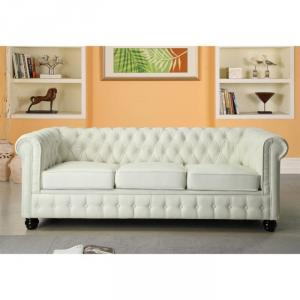 canapé chesterfield cuir blanc 3 places