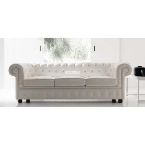 canapé chesterfield cuir blanc 3 places 10