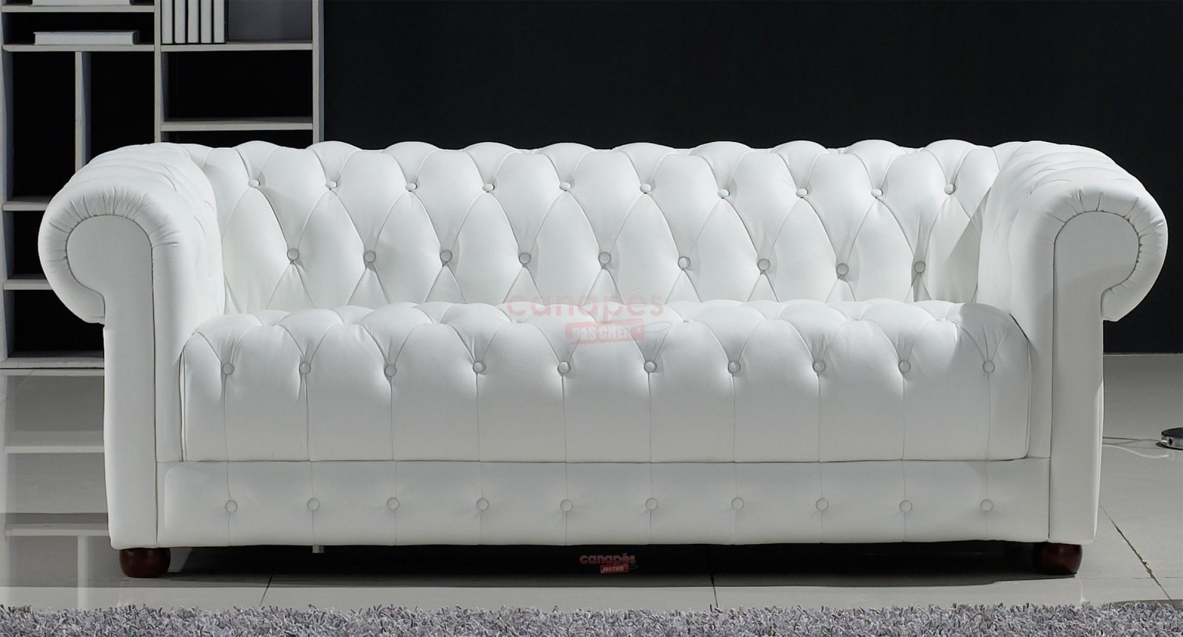 Photos canap chesterfield convertible cuir blanc for Canape chesterfield cuir