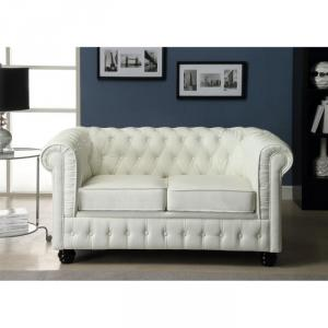 canapé chesterfield convertible cuir blanc