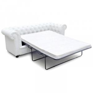 canapé chesterfield convertible cuir blanc 3