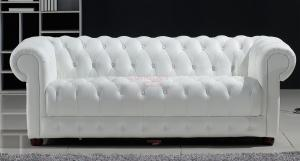 canapé chesterfield convertible cuir blanc 5