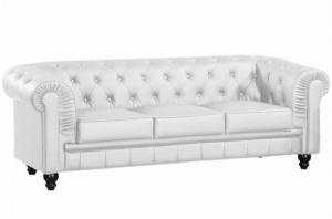 canapé chesterfield convertible cuir blanc 19