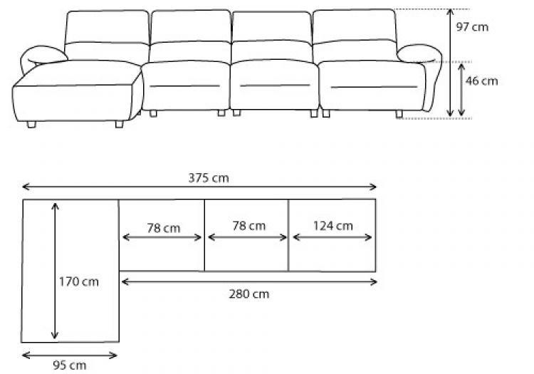 photos canap 4 places dimensions. Black Bedroom Furniture Sets. Home Design Ideas