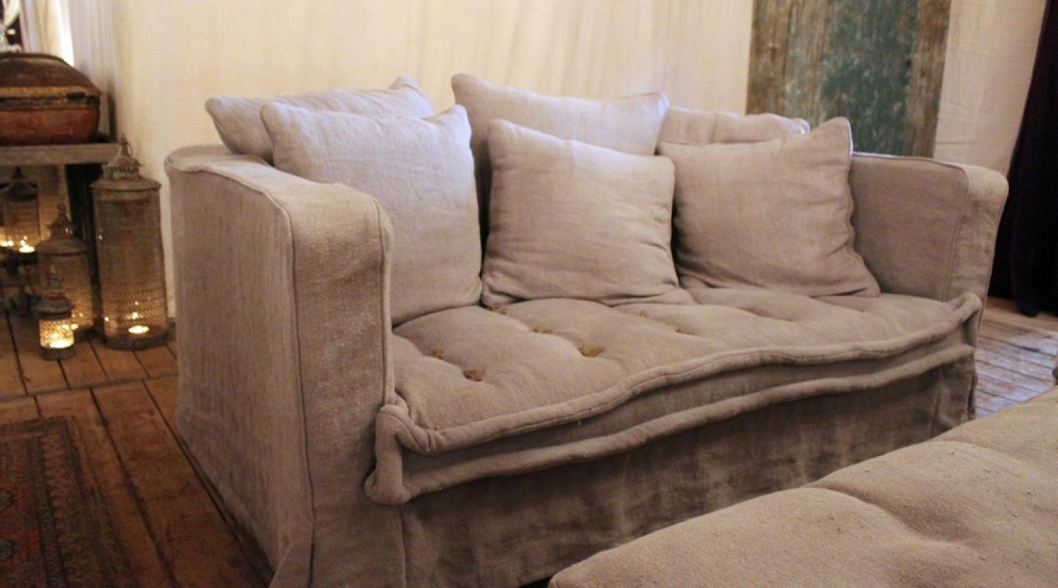 photos canap en lin gris. Black Bedroom Furniture Sets. Home Design Ideas