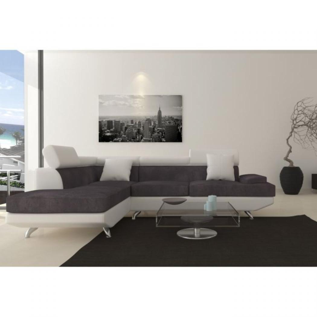 Photos canap gris et blanc pas cher for Canape 6 places pas cher