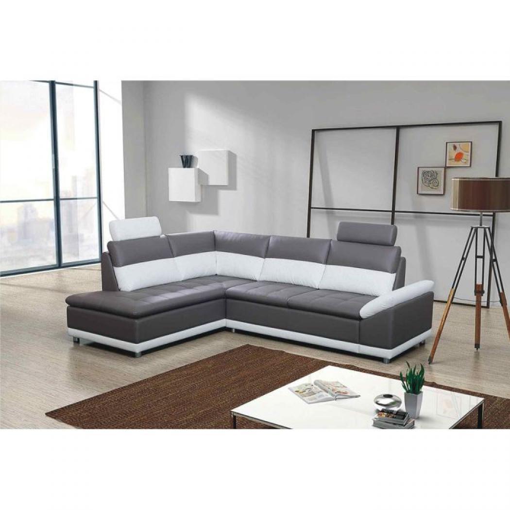 Canape convertible gris et blanc maison design - Canape gris et blanc conforama ...